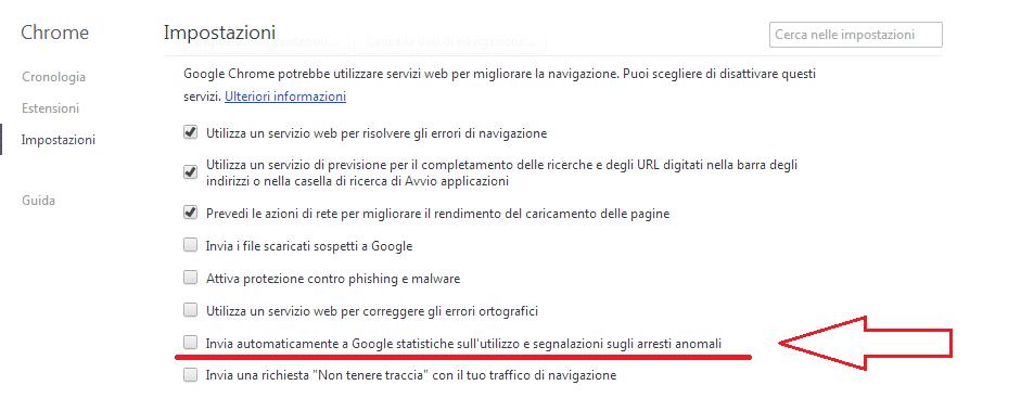statistiche sull'utilizzo google chrome