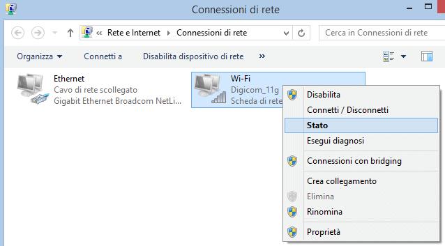 Stato connessione di rete wifi Windows 8.1