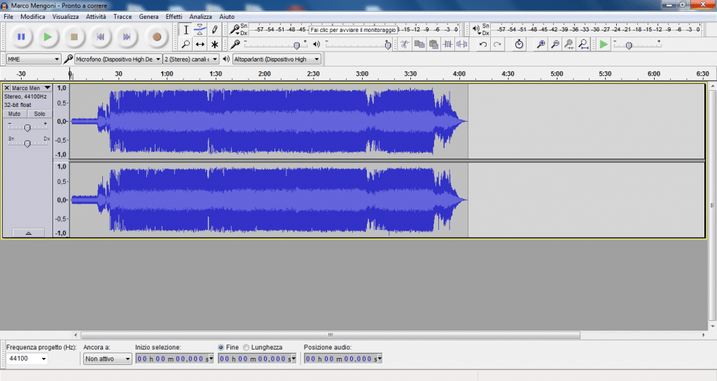 modificare un file audio con Audacity
