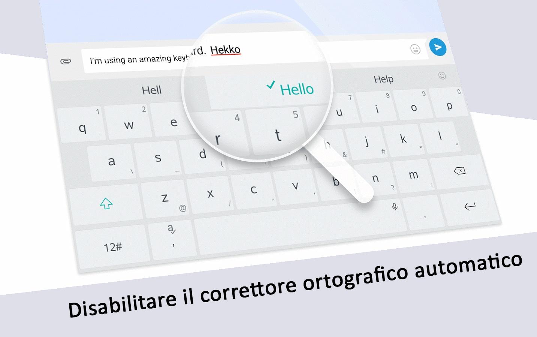 disabilitare il correttore ortografico automatico