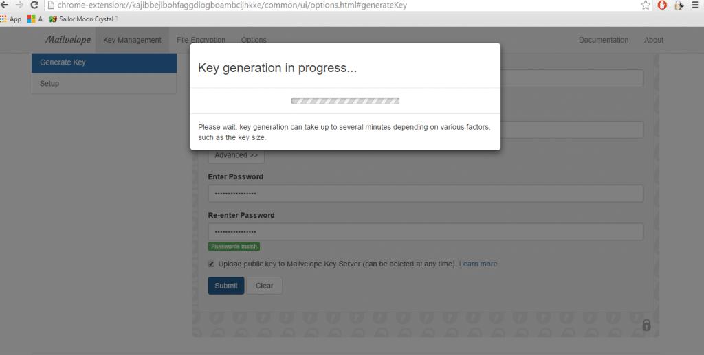 generazione key mailvelope