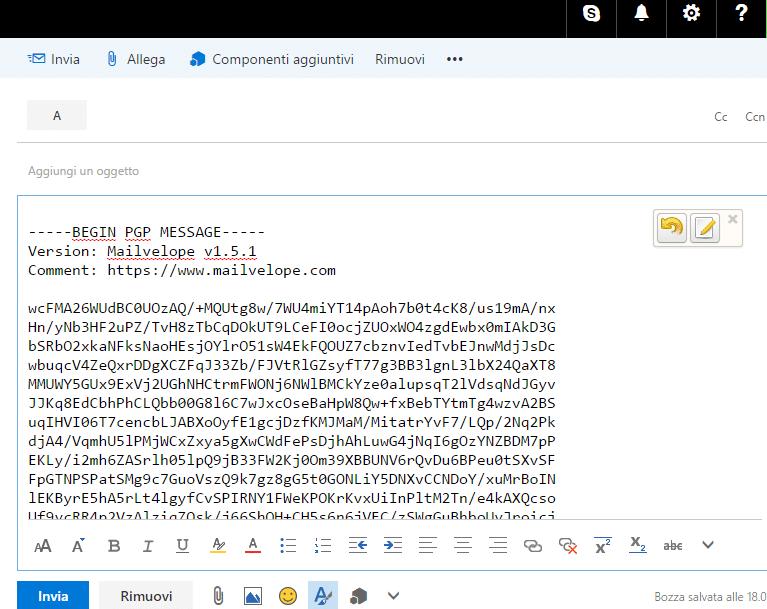 messaggio codificato mailvelope