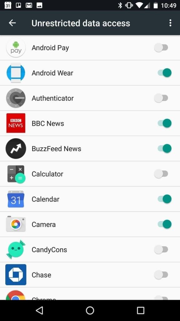 android 7 restrizioni app