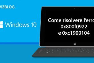 errore windows 10 0x800f0922