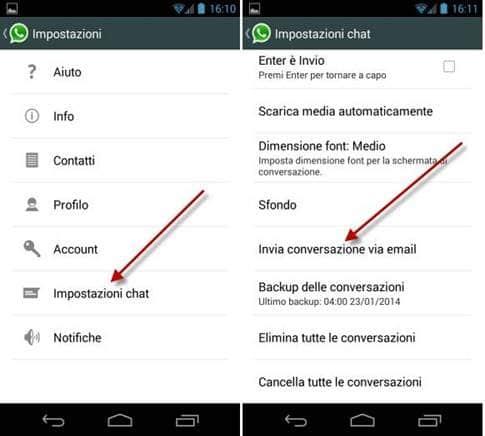 intera conversazione whatsapp