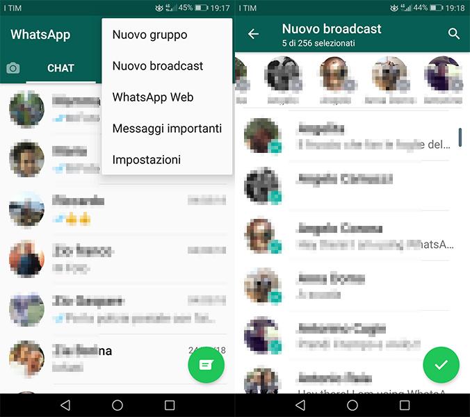 inviare messaggi a tutti cantatti WhatsApp