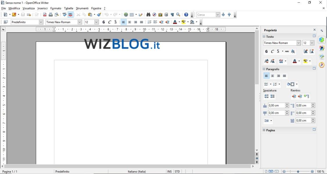 Programma OpenOffice Writer