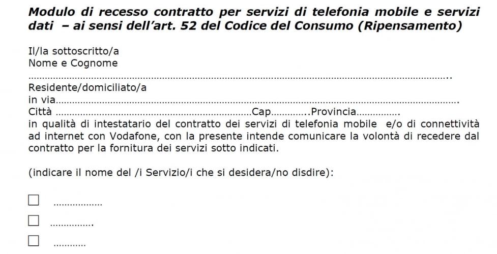 Disdetta Vodafone entro 14 giorni