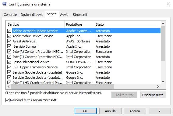Disattivare i servizi all'avvio windows 10