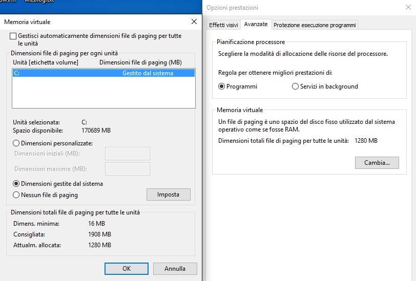 file di paginazione windows 10