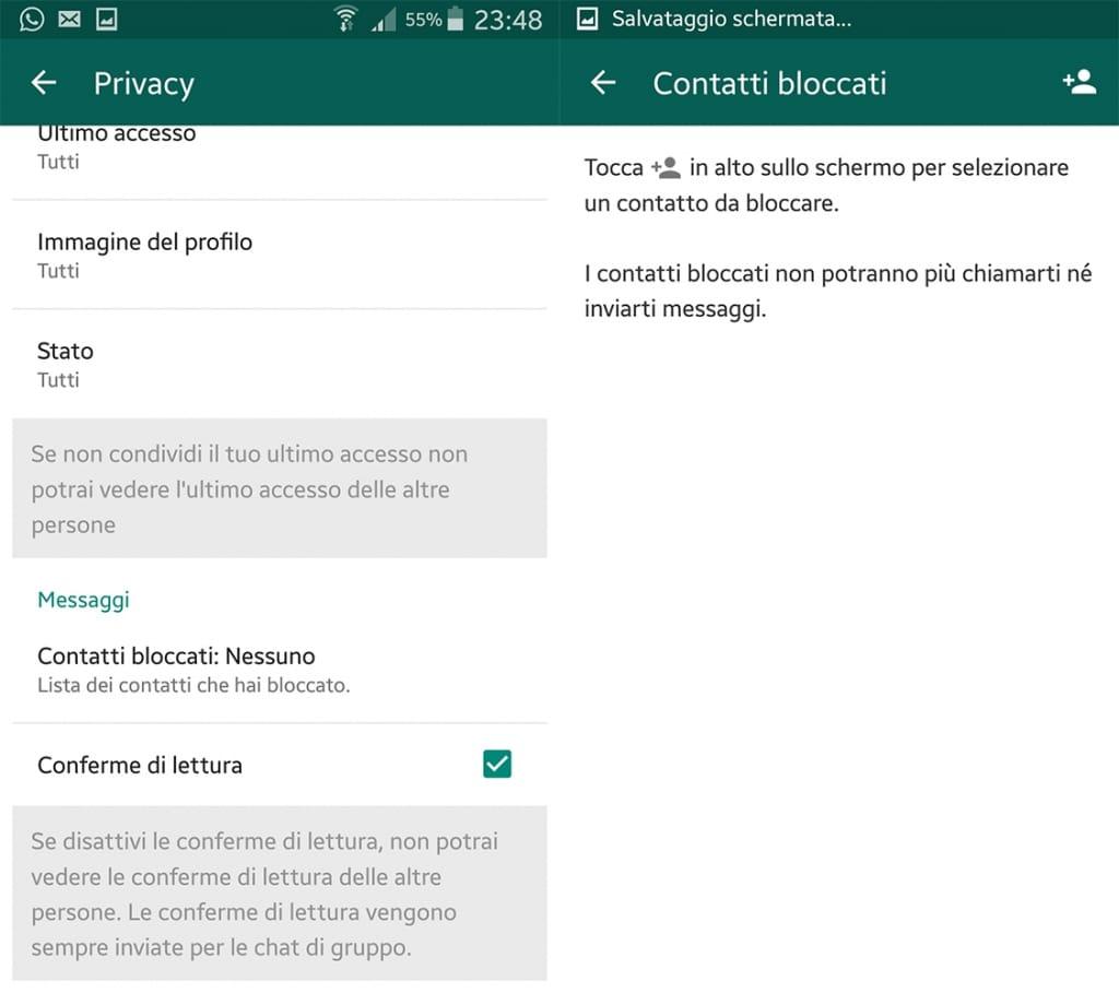 bloccare e sbloccare un contatto whatsapp