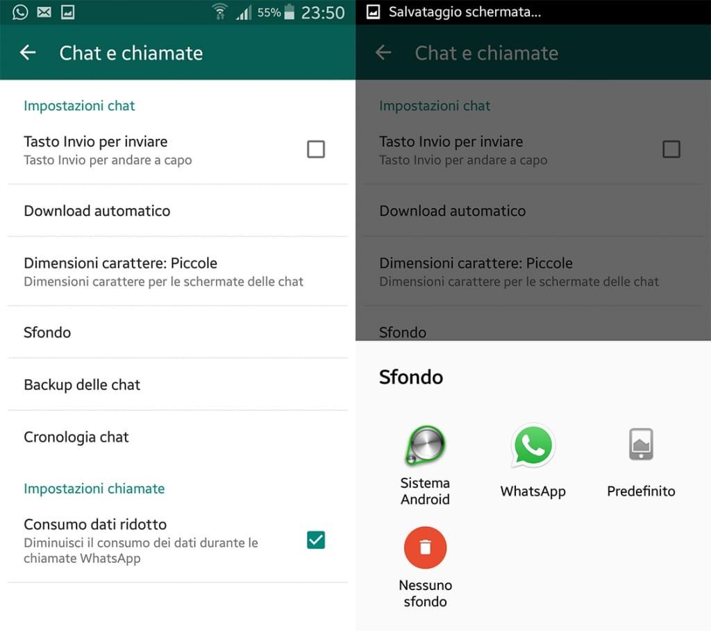 cambiare lo sfondo delle conversazioni whatsapp