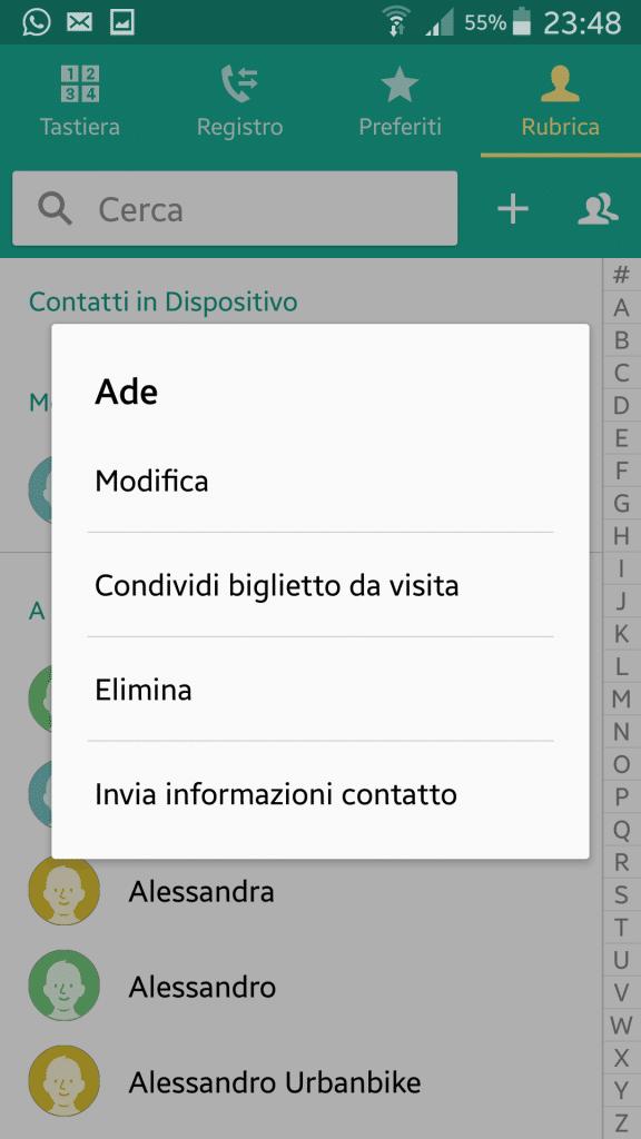 eliminare un contatto whatsapp
