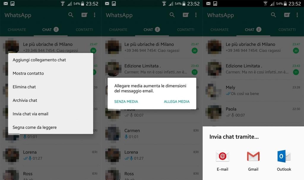 inviare il testo delle chat per mail whatsapp