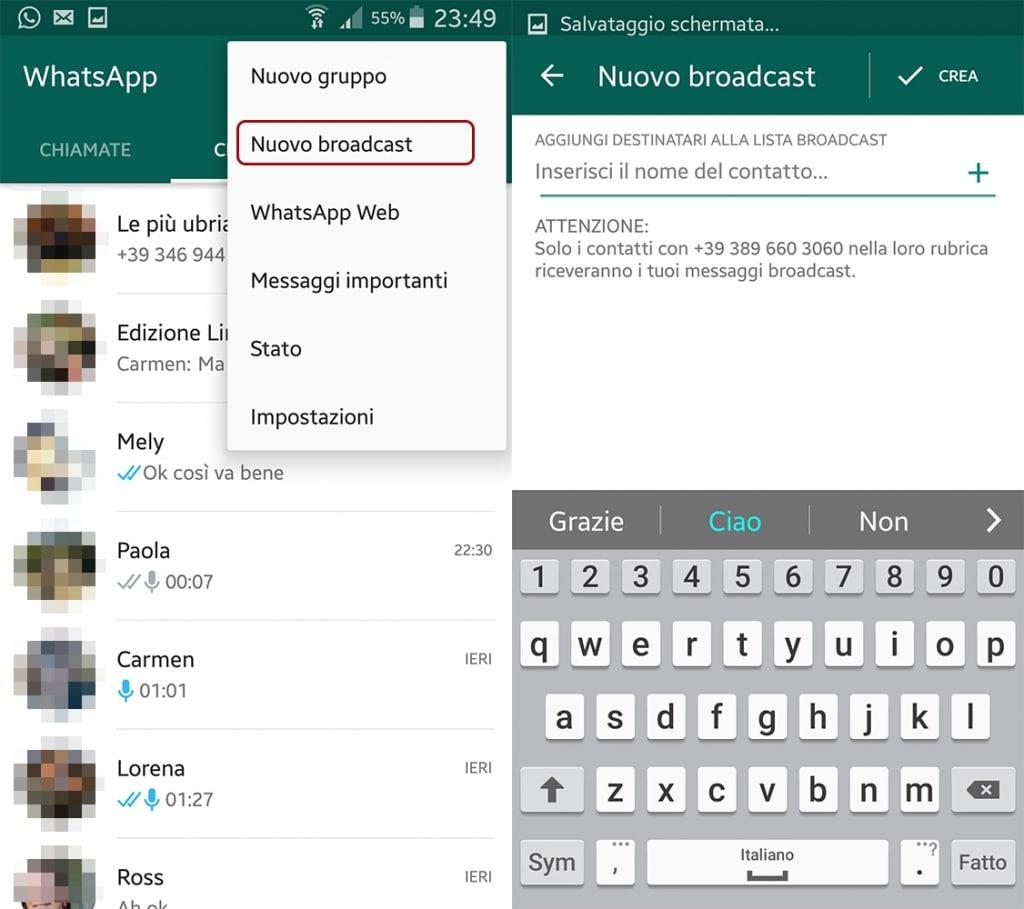 inviare un messaggio a tutti i contatti whatsapp