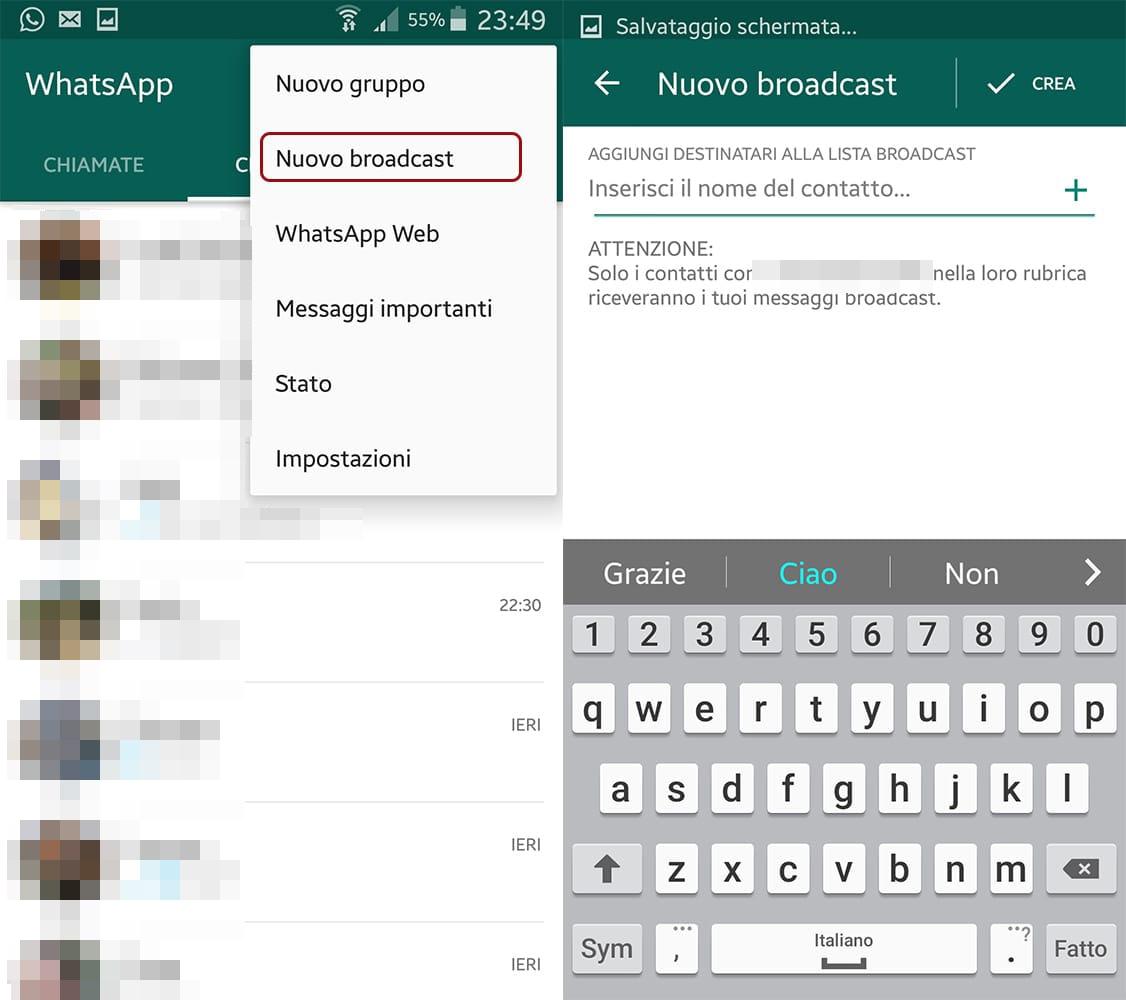 Come creare una lista broadcast Whatsapp