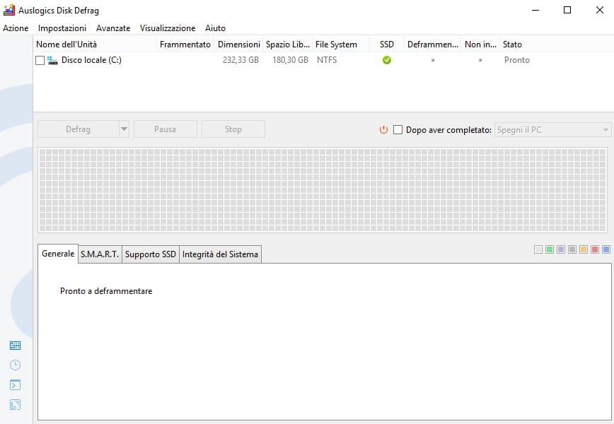 Programma Auslogics Disk Defrag