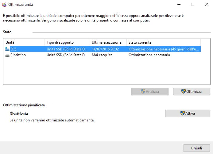 Come deframmentare Windows 10