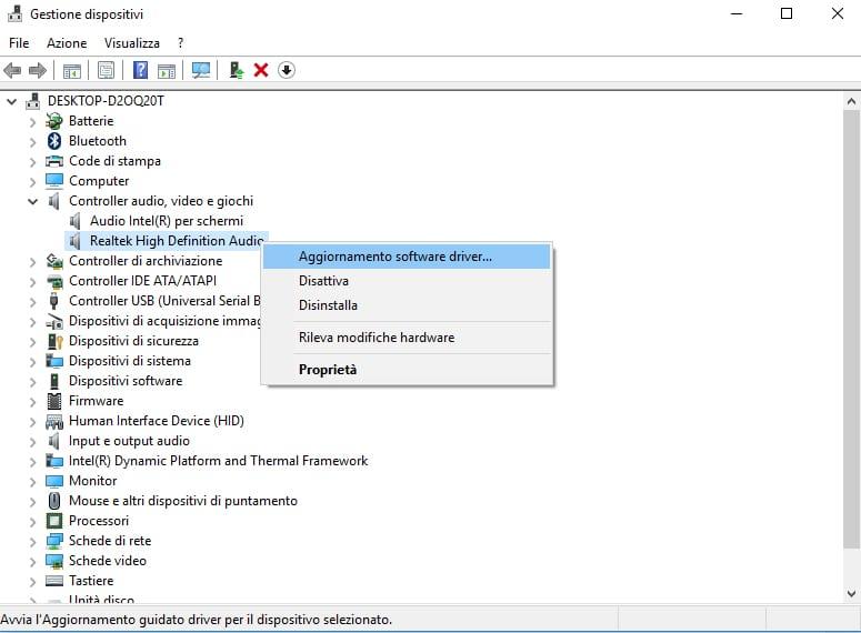 Aggiornare i driver in Windows 10 manualmente
