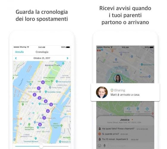Applicazione iSharing Localizzatore GPS