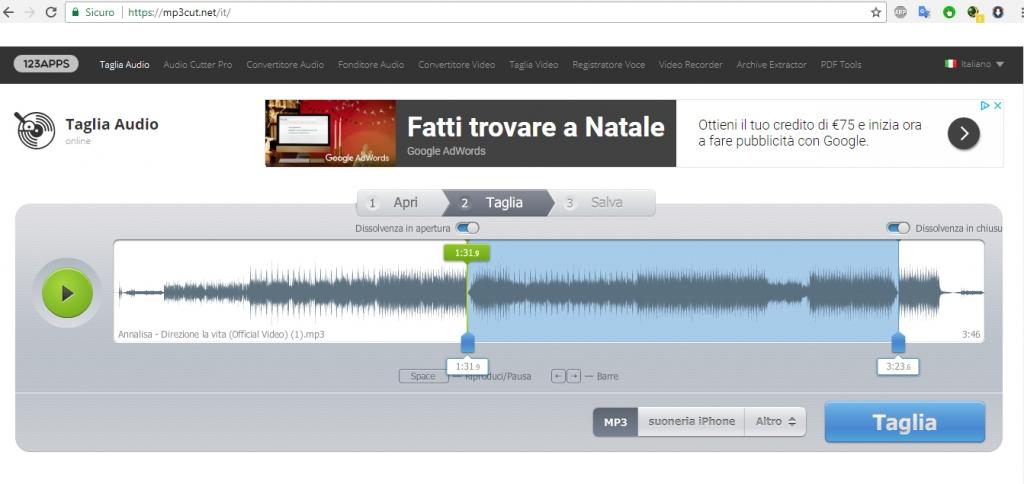 MP3cut dividere traccia audio