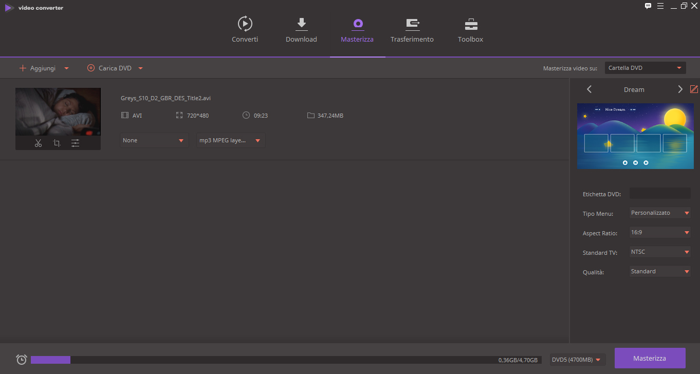 Wondershare Video Converter Ultimate masterizza