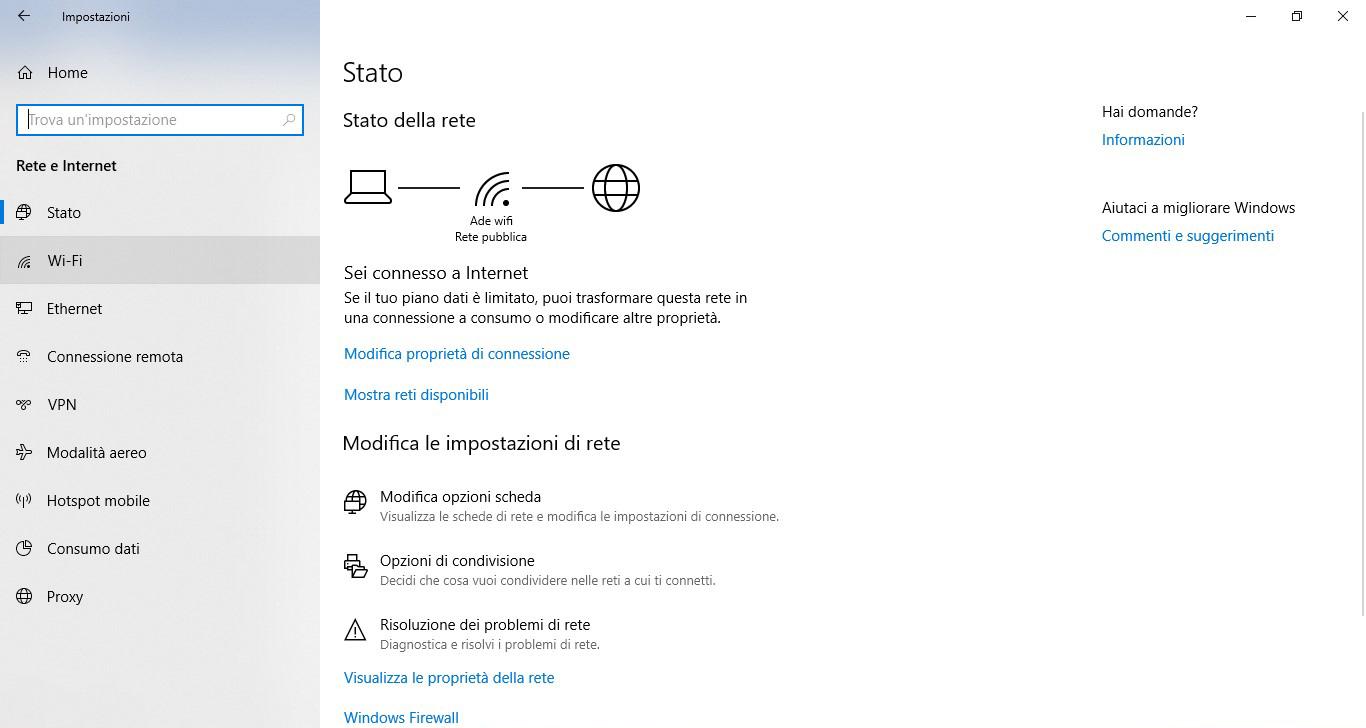 windows 10 Modifica impostazioni di scheda