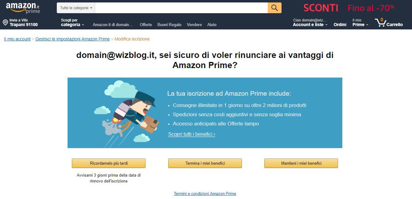 disattivare abbonamento Amazon Prime