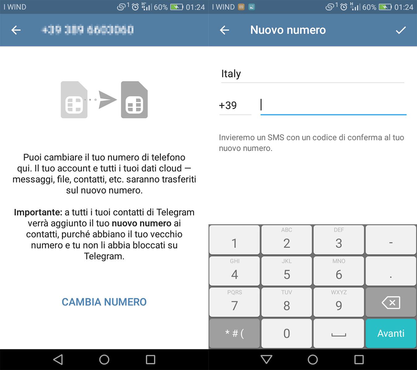 Come modificare numero di telefono telegram