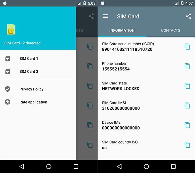 applicazione SIM CARD