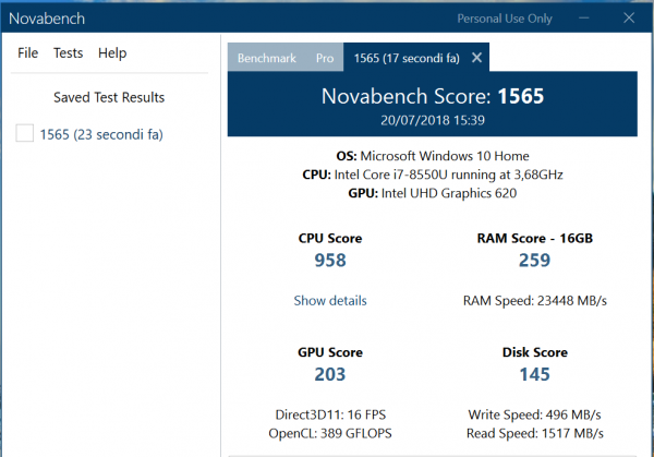 test prestazioni portatile con Novabench