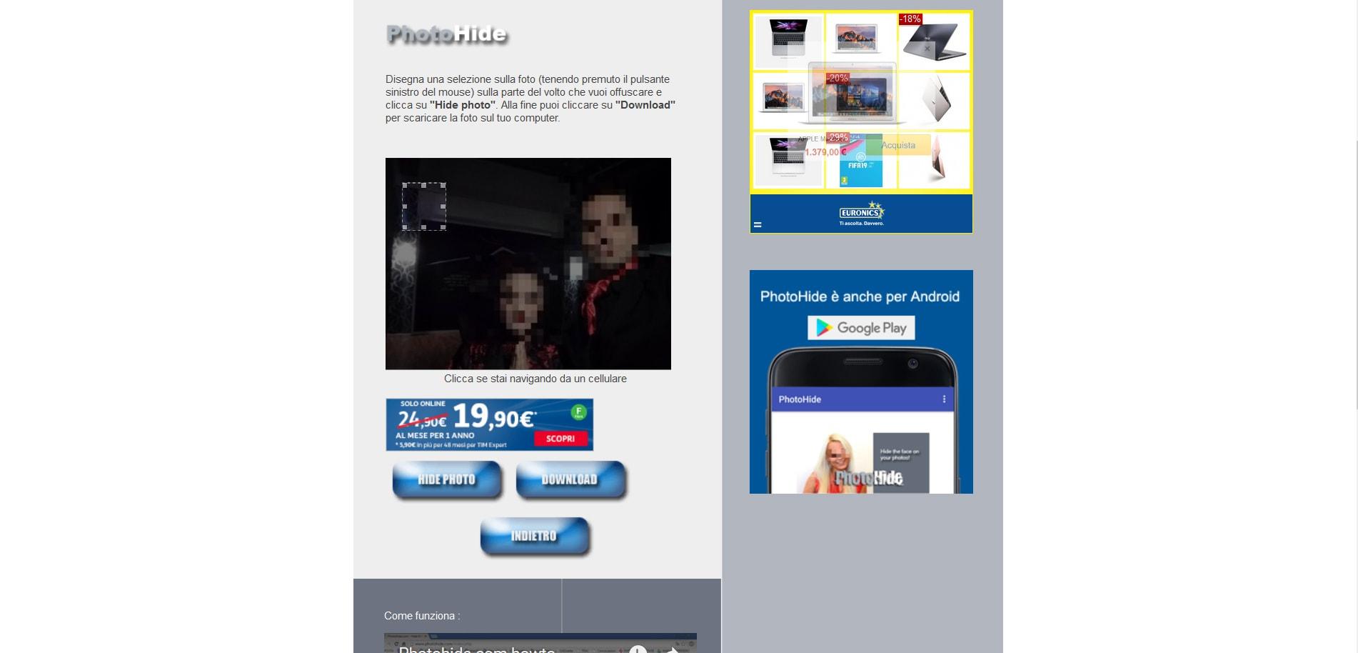 oscurare il viso di una foto con PhotoHide