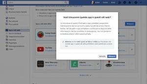 rimuovere app e siti web facebook