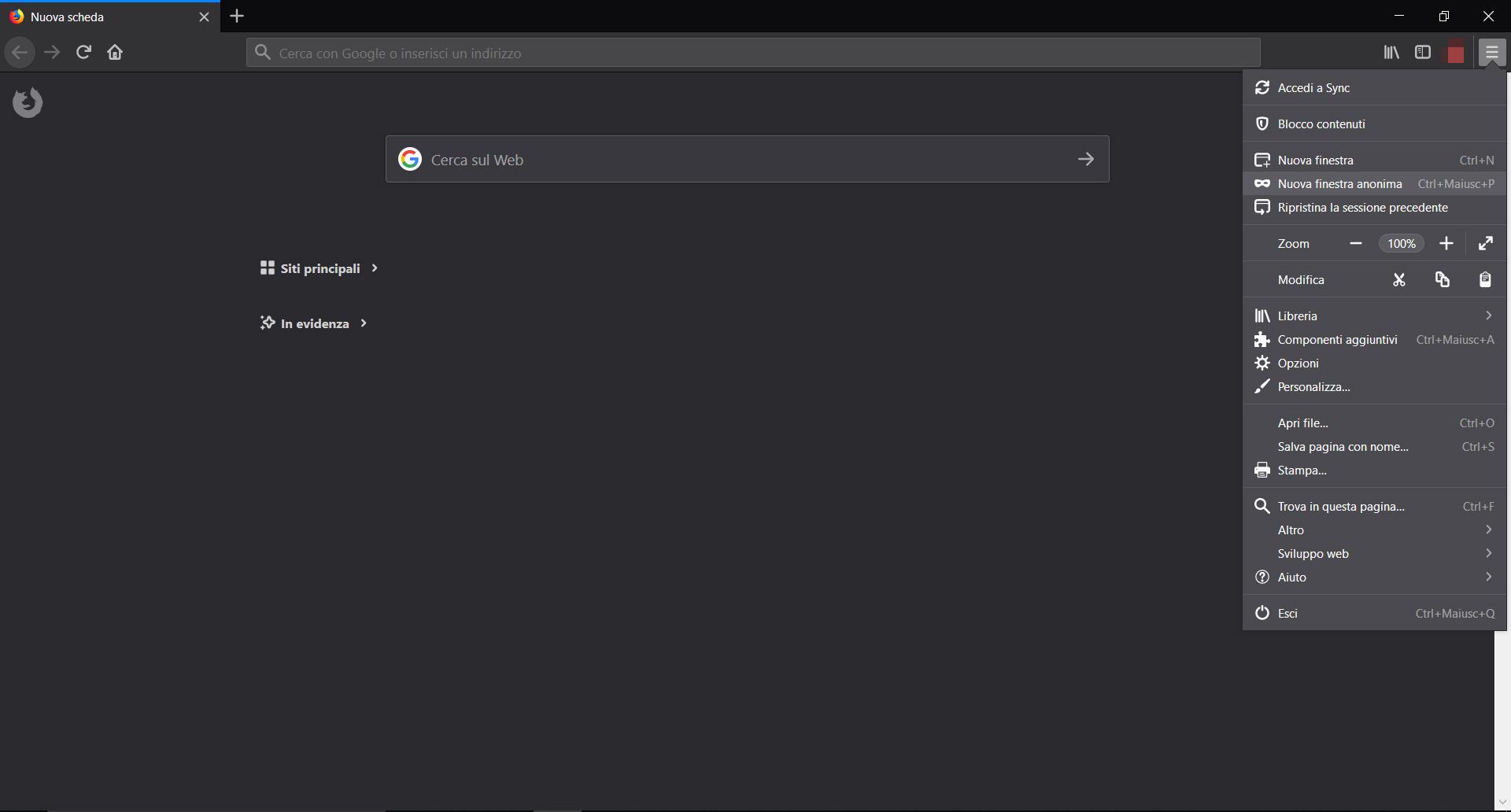 Come navigare in incognito con Firefox