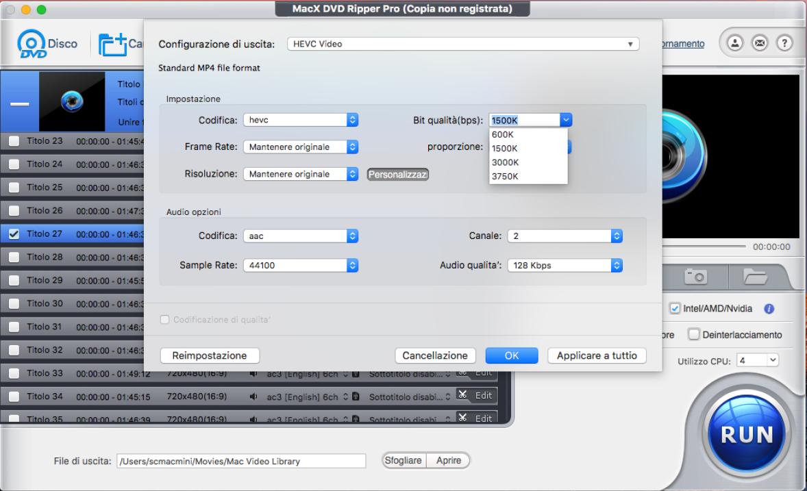 scegliere il formato MacX DVD Ripper Pro