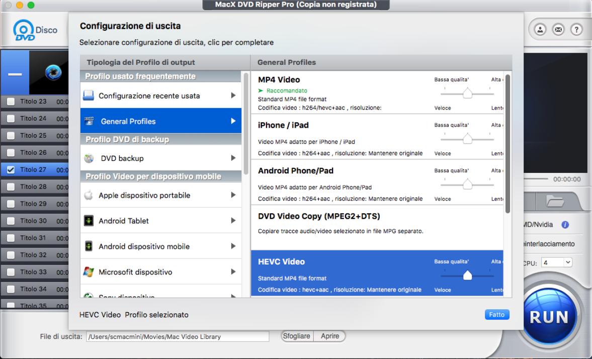 configurazione in uscita MacX DVD Ripper Pro