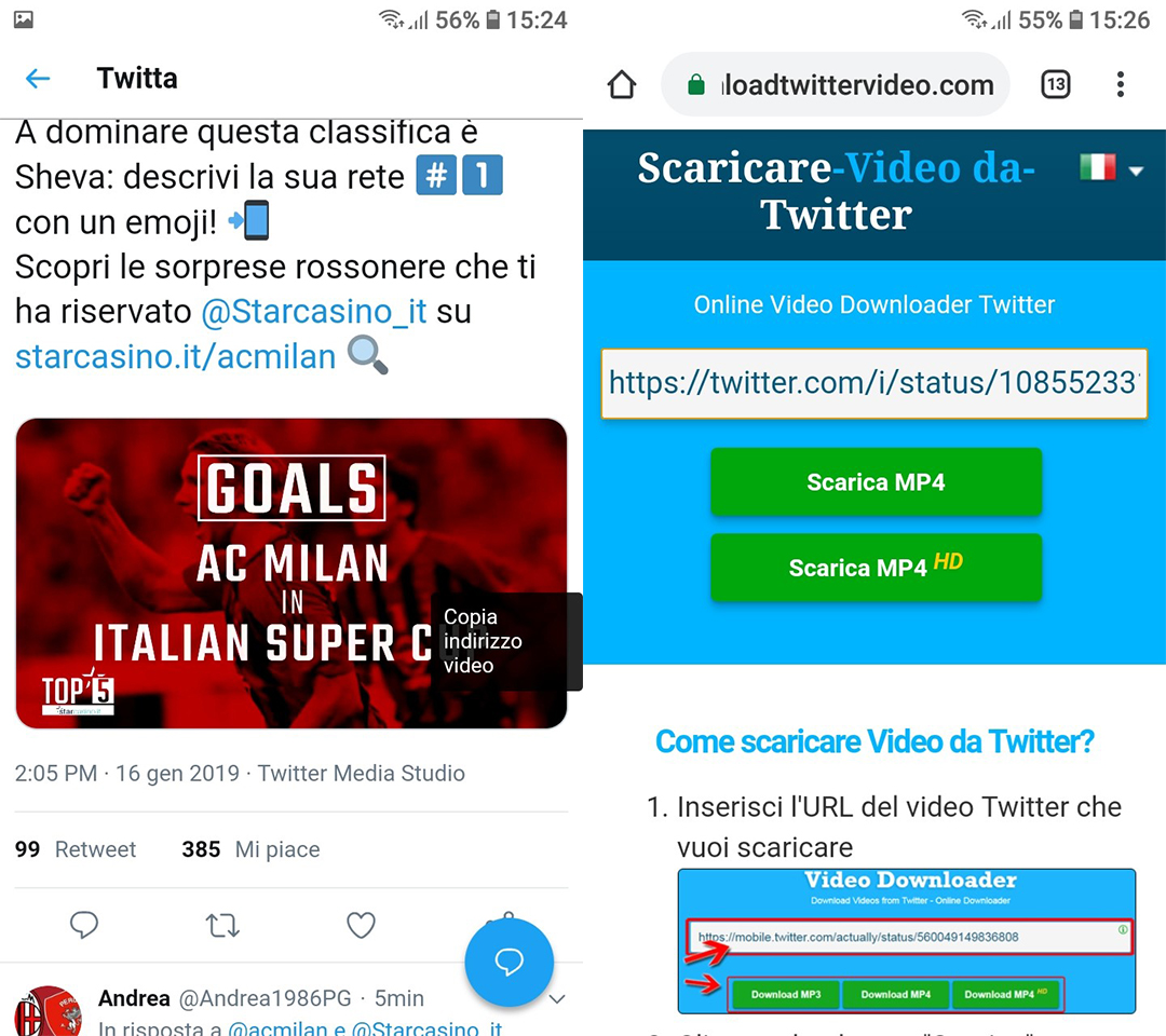 Come scaricare video da Twitter con Android