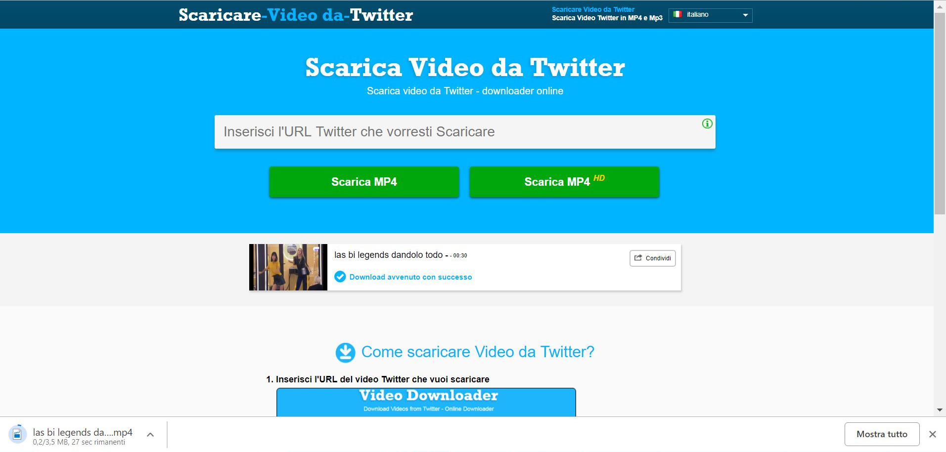 Inserisci l'URL Twitter che vorresti scaricare