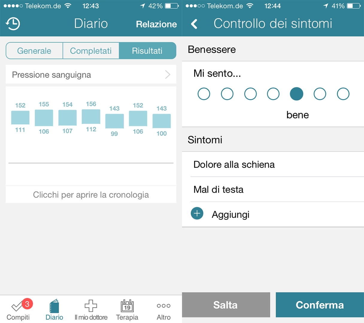 controllare i sintomi MyTherapy