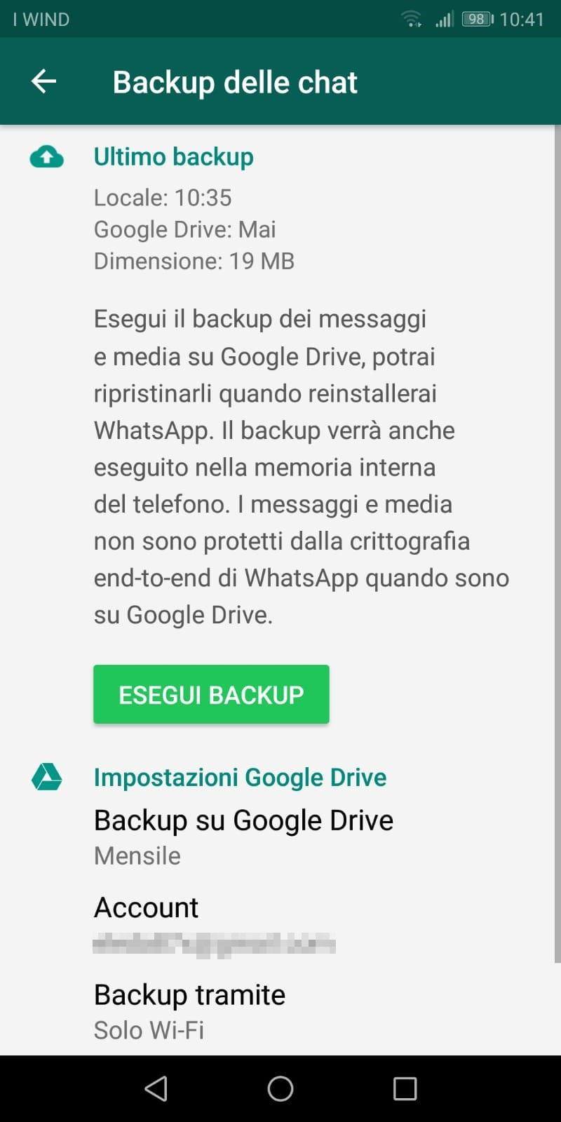 backup WhatsApp usando google drive
