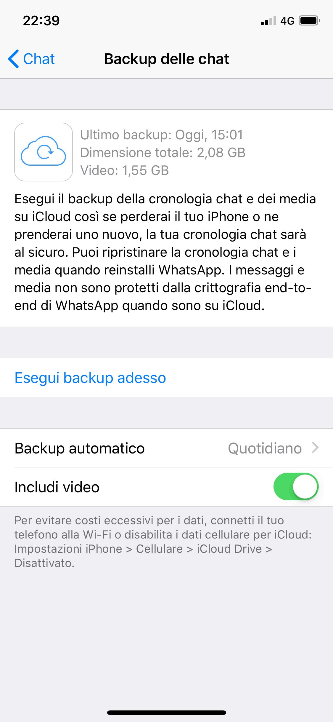 backup delle chat whatsapp