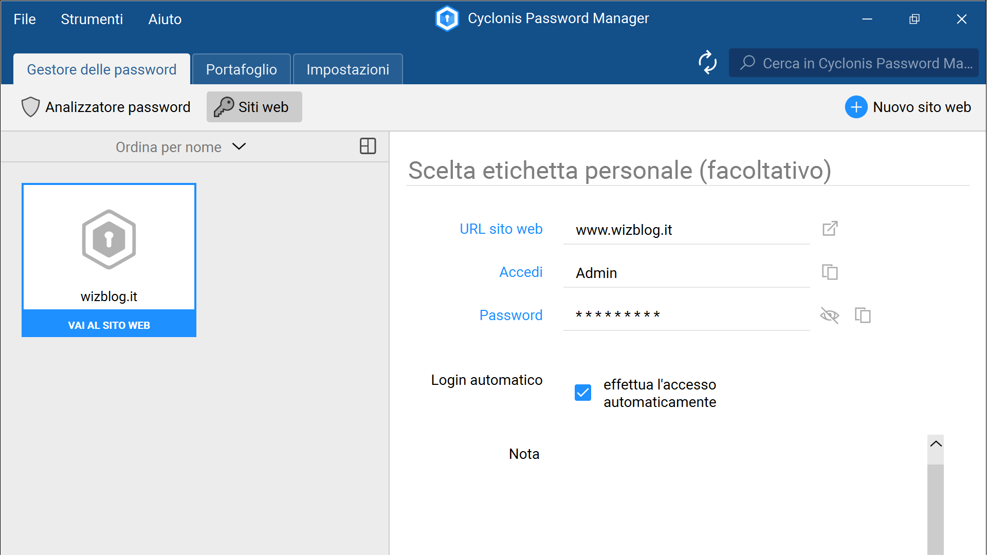 gestione credenziali Cyclonis Password Manager