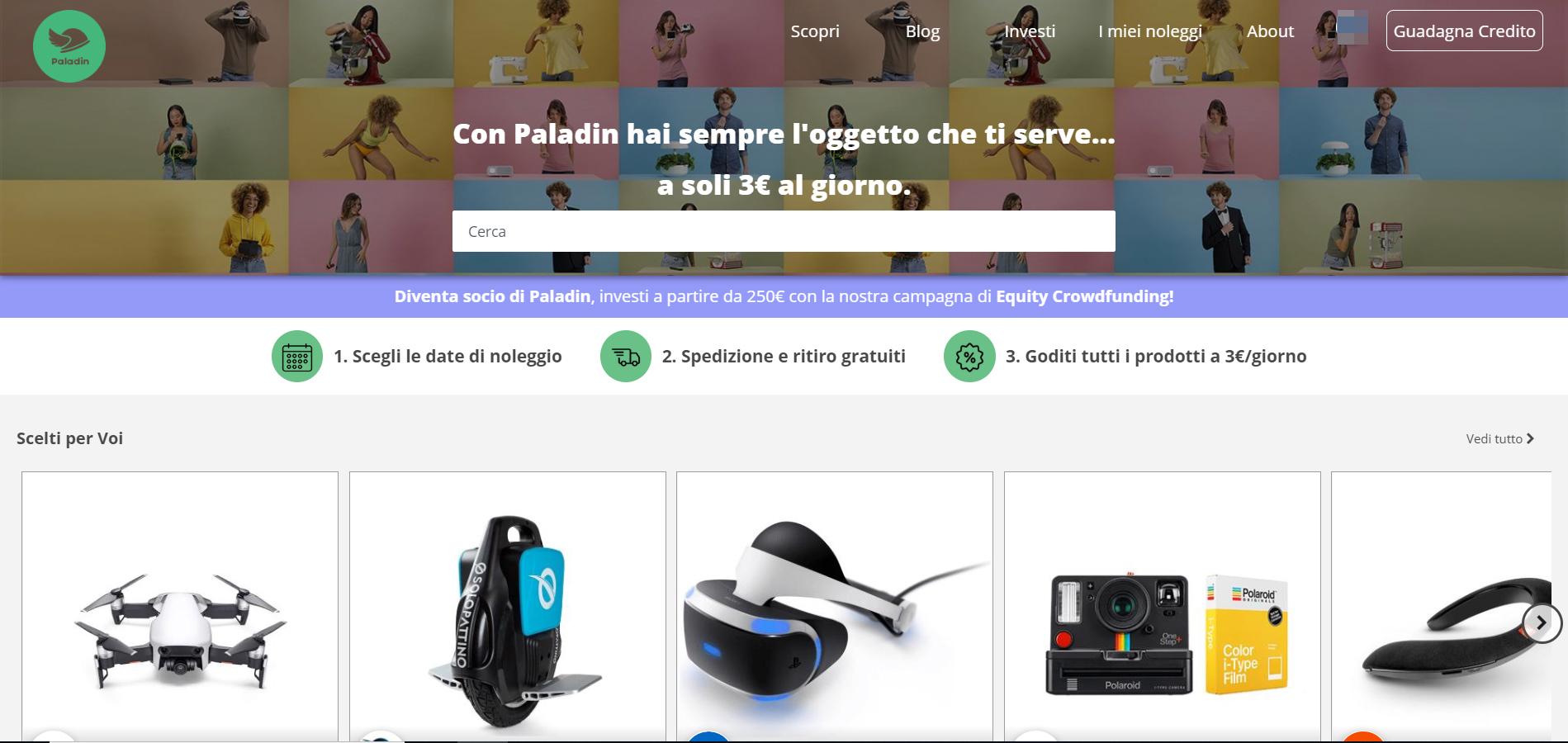 home page di Paladin