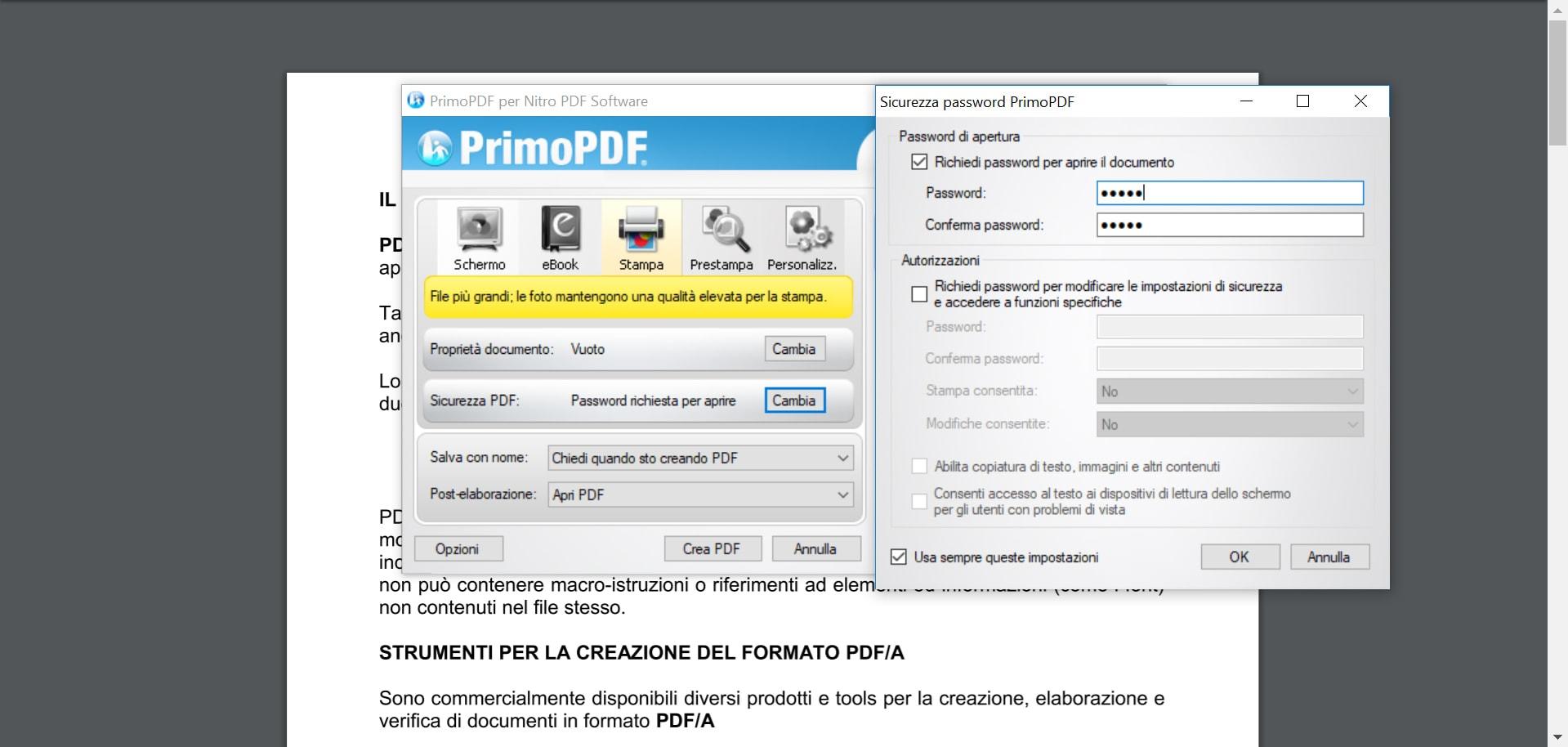 inserire la password con PrimoPDF