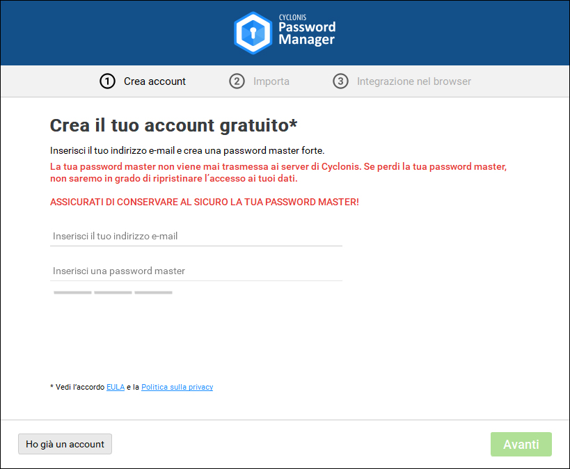 nuovo account Cyclonis Password Manager