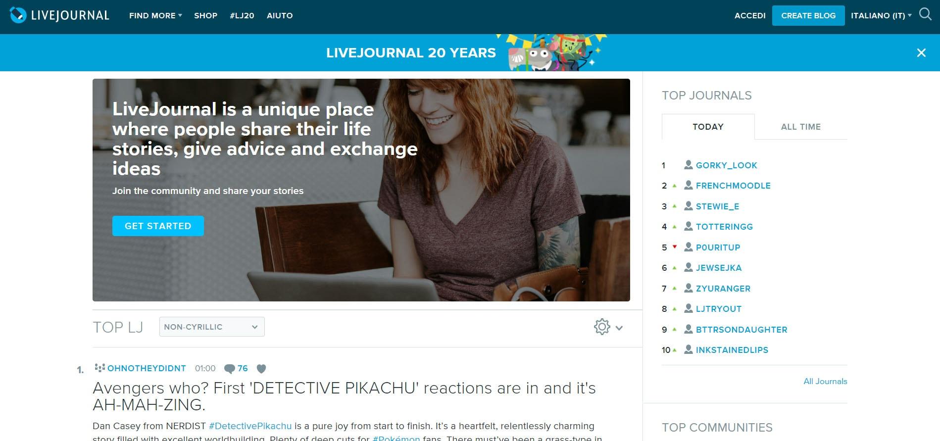 LiveJournal per creare blog