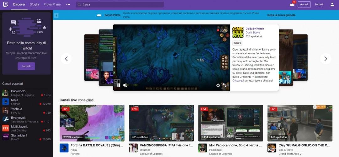 Twitch per i live streaming