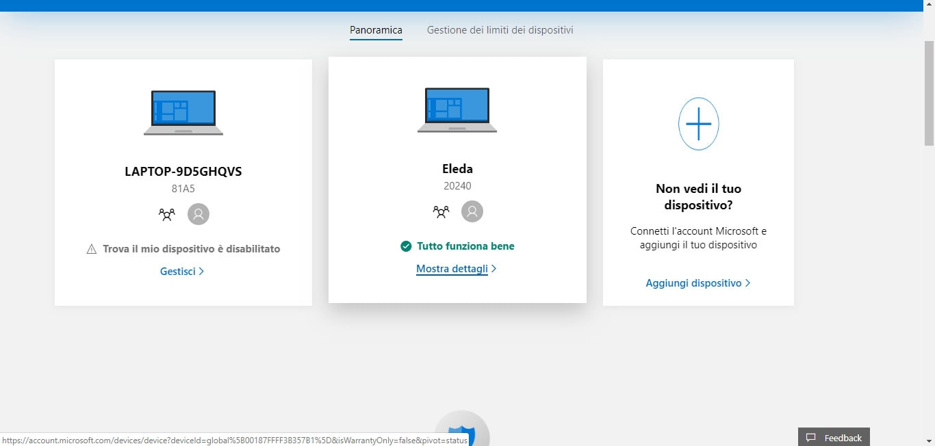 quale account windows 10 bloccare