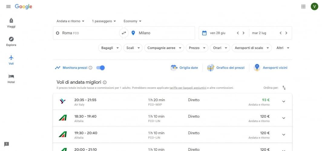 Come monitorare i prezzi dei voli con Google Flights