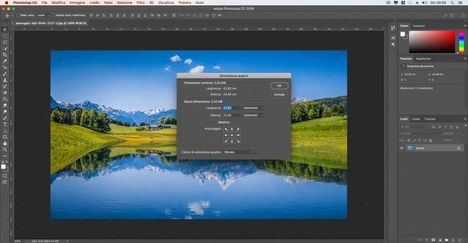 Come Modifica dimensioni quadro photoshop